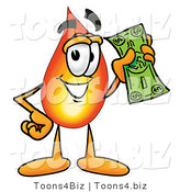 Illustration of a Cartoon Fire Droplet Mascot Holding a Dollar Bill by Toons4Biz