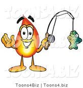 Illustration of a Cartoon Fire Droplet Mascot Holding a Fish on a Fishing Pole by Toons4Biz