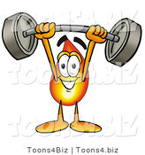 Illustration of a Cartoon Fire Droplet Mascot Holding a Heavy Barbell Above His Head by Toons4Biz
