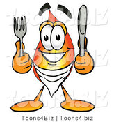 Illustration of a Cartoon Fire Droplet Mascot Holding a Knife and Fork by Toons4Biz
