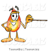 Illustration of a Cartoon Fire Droplet Mascot Holding a Pointer Stick by Toons4Biz