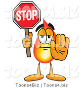 Illustration of a Cartoon Fire Droplet Mascot Holding a Stop Sign by Toons4Biz