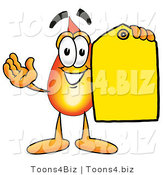 Illustration of a Cartoon Fire Droplet Mascot Holding a Yellow Sales Price Tag by Toons4Biz
