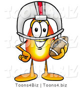 Illustration of a Cartoon Fire Droplet Mascot in a Helmet, Holding a Football by Toons4Biz