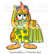 Illustration of a Cartoon Fire Droplet Mascot in Green and Yellow Snorkel Gear by Toons4Biz