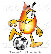 Illustration of a Cartoon Fire Droplet Mascot Kicking a Soccer Ball by Toons4Biz