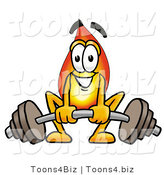 Illustration of a Cartoon Fire Droplet Mascot Lifting a Heavy Barbell by Toons4Biz