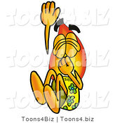 Illustration of a Cartoon Fire Droplet Mascot Plugging His Nose While Jumping into Water by Toons4Biz