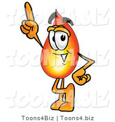 Illustration of a Cartoon Fire Droplet Mascot Pointing Upwards by Toons4Biz