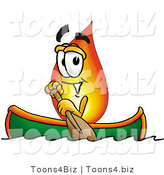 Illustration of a Cartoon Fire Droplet Mascot Rowing a Boat by Toons4Biz