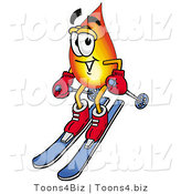 Illustration of a Cartoon Fire Droplet Mascot Skiing Downhill by Toons4Biz