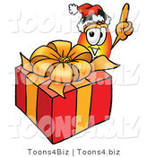 Illustration of a Cartoon Fire Droplet Mascot Standing by a Christmas Present by Toons4Biz
