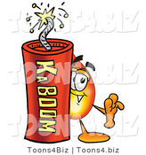 Illustration of a Cartoon Fire Droplet Mascot Standing with a Lit Stick of Dynamite by Toons4Biz