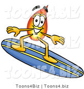 Illustration of a Cartoon Fire Droplet Mascot Surfing on a Blue and Yellow Surfboard by Toons4Biz