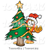 Illustration of a Cartoon Fire Droplet Mascot Waving and Standing by a Decorated Christmas Tree by Toons4Biz