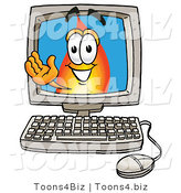 Illustration of a Cartoon Fire Droplet Mascot Waving from Inside a Computer Screen by Toons4Biz