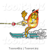 Illustration of a Cartoon Fire Droplet Mascot Waving While Water Skiing by Toons4Biz