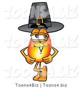 Illustration of a Cartoon Fire Droplet Mascot Wearing a Pilgrim Hat on Thanksgiving by Toons4Biz