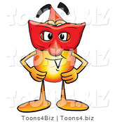 Illustration of a Cartoon Fire Droplet Mascot Wearing a Red Mask over His Face by Toons4Biz