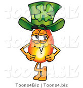 Illustration of a Cartoon Fire Droplet Mascot Wearing a Saint Patricks Day Hat with a Clover on It by Toons4Biz