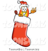 Illustration of a Cartoon Fire Droplet Mascot Wearing a Santa Hat Inside a Red Christmas Stocking by Toons4Biz