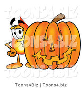 Illustration of a Cartoon Fire Droplet Mascot with a Carved Halloween Pumpkin by Toons4Biz