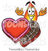 Illustration of a Cartoon Fire Droplet Mascot with an Open Box of Valentines Day Chocolate Candies by Toons4Biz