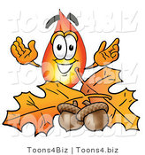 Illustration of a Cartoon Fire Droplet Mascot with Autumn Leaves and Acorns in the Fall by Toons4Biz