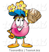 Illustration of a Cartoon Flowers Mascot Catching a Baseball with a Glove by Toons4Biz