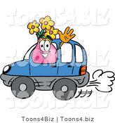 Illustration of a Cartoon Flowers Mascot Driving a Blue Car and Waving by Toons4Biz