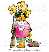 Illustration of a Cartoon Flowers Mascot Duck Hunting, Standing with a Rifle and Duck by Toons4Biz
