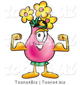 Illustration of a Cartoon Flowers Mascot Flexing His Arm Muscles by Toons4Biz