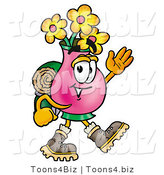 Illustration of a Cartoon Flowers Mascot Hiking and Carrying a Backpack by Toons4Biz
