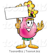Illustration of a Cartoon Flowers Mascot Holding a Blank Sign by Toons4Biz