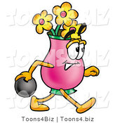 Illustration of a Cartoon Flowers Mascot Holding a Bowling Ball by Toons4Biz