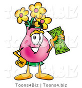 Illustration of a Cartoon Flowers Mascot Holding a Dollar Bill by Toons4Biz