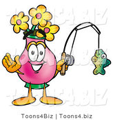 Illustration of a Cartoon Flowers Mascot Holding a Fish on a Fishing Pole by Toons4Biz