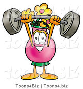 Illustration of a Cartoon Flowers Mascot Holding a Heavy Barbell Above His Head by Toons4Biz