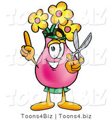 Illustration of a Cartoon Flowers Mascot Holding a Pair of Scissors by Toons4Biz