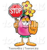 Illustration of a Cartoon Flowers Mascot Holding a Stop Sign by Toons4Biz