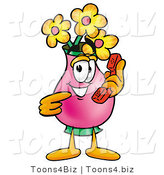 Illustration of a Cartoon Flowers Mascot Holding a Telephone by Toons4Biz