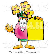 Illustration of a Cartoon Flowers Mascot Holding a Yellow Sales Price Tag by Toons4Biz