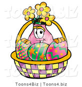 Illustration of a Cartoon Flowers Mascot in an Easter Basket Full of Decorated Easter Eggs by Toons4Biz