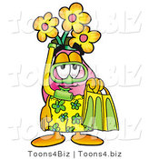 Illustration of a Cartoon Flowers Mascot in Green and Yellow Snorkel Gear by Toons4Biz