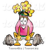Illustration of a Cartoon Flowers Mascot Lifting a Heavy Barbell by Toons4Biz