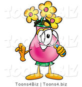 Illustration of a Cartoon Flowers Mascot Looking Through a Magnifying Glass by Toons4Biz