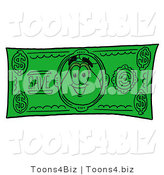 Illustration of a Cartoon Flowers Mascot on a Dollar Bill by Toons4Biz