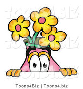 Illustration of a Cartoon Flowers Mascot Peeking over a Surface by Toons4Biz