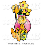 Illustration of a Cartoon Flowers Mascot Plugging His Nose While Jumping into Water by Toons4Biz