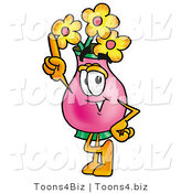 Illustration of a Cartoon Flowers Mascot Pointing Upwards by Toons4Biz